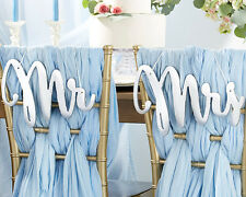Silver Mirror Mr. Mrs. Bride and Groom Chair Signs Wedding Decorations Q36960