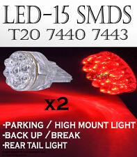 JDM 2 pcs T20 15x SMDs Super RED LED STOP/TAIL-BRAKE LAMP LIGHT BULBS 7443 M3213