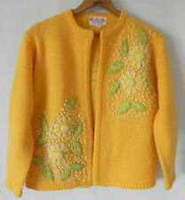 Vtg Charles & Co. 100% Wool Cardigan Sweater Yellow. Embroidery SizeM 3/4 Sleeve
