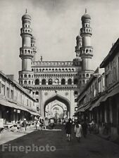 1928 Vintage INDIA Hyderabad Street Charminar Mosque Monument Photo By HURLIMANN