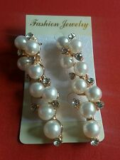 US Seller! Gold Pearl Bling Cluster Dangle Drop Earrings Holiday Party Wedding