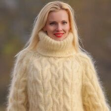 SUPERTANYA Cream Hand Knitted Mohair Sweater IVORY Handmade Turtleneck Pullover