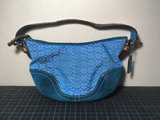 Coach Purse Blue With Teal Suede Bottom Leather Strap no. K04J-6351