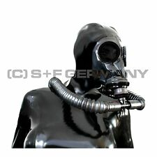 █ DELUXE 7 PARTS DELUXE GAS MASK SYSTEM LATEX HOOD BAG + TUBES FOR FETISH CORSET