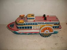 Vintage Modern Toys Show Boat Tin Litho Steam Paddle CLEAN Toy Battery operated