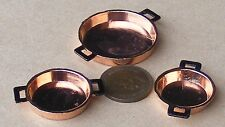 1:12 Three Flat Copper Pans Dolls House Miniature Food Kitchen Accessory 714