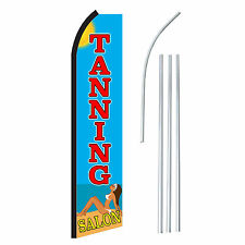 TANNING SALON BEACH - Advertising Sign Swooper Feather Banner Flag & Pole Only