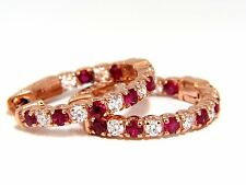 1.83ct natural vivid red ruby diamond hoop earrings 14kt rose gold