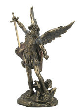 Archangel- Saint St. Michael Stand on Demon W Sword Statue Sculpture Figure