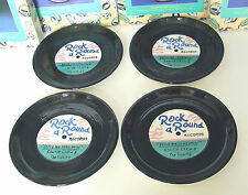 "ROCK a ROUND RECORD PLATES Set of 4 8"" Ceramic Canape Fitz & Floyd OCI '94 Boxed"