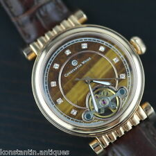 Constantin Weisz Automatic Watch gilt Tiger gemstone dial genuine leather strap