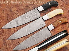 CUSTOM MADE DAMASCUS BLADE 3Pcs. CHEF/KITCHEN KNIVES SET DC-1002-HBW