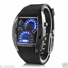 UK Mens Black Stainless Steel Luxury Sport Analog LED Aircraft Wrist Watch reloj