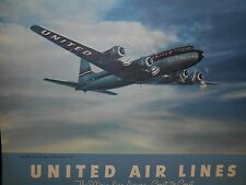 RARE Extra Large 1948 UNITED AIRLINES CALENDER Great Graphics!