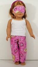 American Girl Doll Clothes Top, Pants with Frozen Design Pajama and Mask