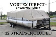 New Vortex Beige/Tan 20 FT Foot Ultra Pontoon Boat Cover w/Elastic Seam + straps