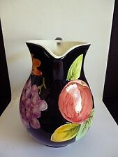 "VINTAGE PITCHER MADE IN ITALY HAND PAINTED BY ANCORA GRAPES & APPLES DECOR 8""T"