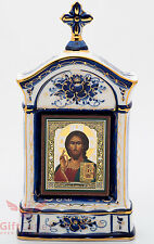 Russia Porcelain Gzhel Orthodox Shrine Kiot Icon Christ Pantocrator Вседержитель