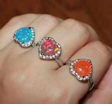 fire opal Cz ring silver jewelry Sz 6.5 7 8 cocktail Heart engagement Love band