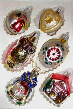 Vintage 6 Romanian And  German Christmas Commodore Glass  Ornaments