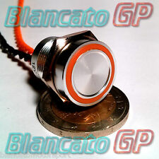 PULSANTE PIEZOELETTRICO 16mm LED ARANCIO 12V auto moto piezo switch interruttore