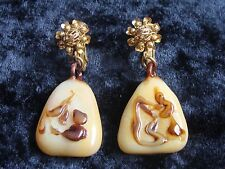 Vintage Miriam Haskell  Earrings Bakelite and Faux Tortise Shell Signed Haskell