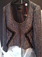 MAISON SCOTCH BLACK TWEED BOUCLE GOLD STUD TASSEL JACKET BLAZER 4 L 14 42 £180