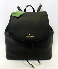 KATE SPADE SMALL BREEZY MULBERRY STREET BACKPACK BLACK LEATHER DRAW STRING *$329