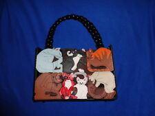 Michael Simon Kitty Cat Purse Fish Beads Whiskers Embroidery Handbag Crazy Lady