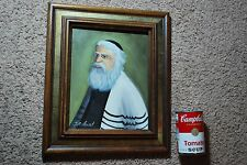 J. A. Stewart Jewish Rabbi Framed Oil on board Painting Signed Canvas Judaica