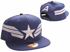 MARVEL'S CAPTAIN AMERICA NAVY BLUE STAR & 'A' SNAPBACK CAP HAT *BRAND NEW*