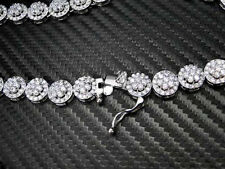 MENS STAINLESS STEEL 316 NECKLACE CHAIN 33 INCH 9MM FLOWER ROUND CUT PAVE SET