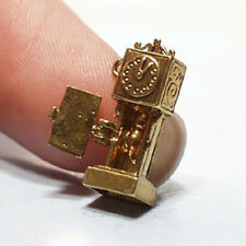 14k gold vintage HICKORY DICKORY DOCK CLOCK charm OPENS