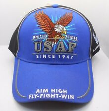 U.S. Air Force Sinc 1947 Aim High Fly Fight Win Ball Cap Hat New Blue Black H13