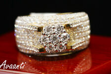 Men's  Lab Diamonds Sterling Silver .925 Iced Out Pinky Flower Ring Gold Tone