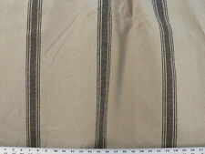 Drapery Upholstery Fabric Black Stripes on Beige Textured Burlap / Linen