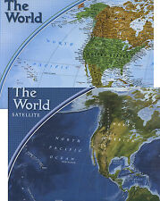 "World Wall Map Political & Satellite View 32""x20"" Double-sided Factory Folded"