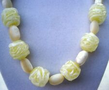 Chunky Vintage Yellow Vaseline Art Glass & MOP Necklace