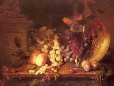 Oil painting stunning still life fruits and grape wine cherry on table canvas