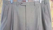 Canali Men's Brown Wool Pleat Trouser Pants 36x30 Made in Italy