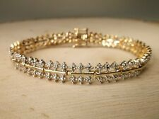 Gorgeous Gold Over Sterling Silver Genuene  Diamond (108 .002 color J)Bracelet