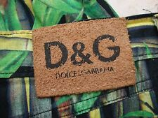 DOLCE & GABBANA D&G SKINNY BLACK AND GREEN BAMBOO PANTS