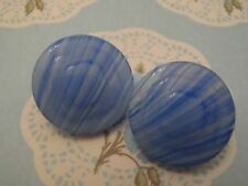 2 Vintage Striated Blue Glass Buttons 18mm craft jewelry scrapbook knit sew