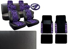 17PC Black Purple Zebra Stripes Synth Leather Car Seat Covers Floor Mat Set HS3