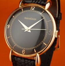 """18K PINK SOLID GOLD """" JAEGER-LeCOULTRE """" w/ RARE LUGS & Black Dial 1950 !!!"""