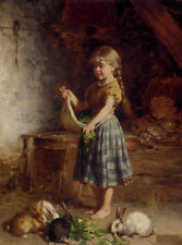 Handmade Heinrich Hirt Oil Painting repro Feeding The Rabbits