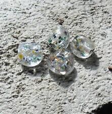 8 perles de verre multicolor paillettes