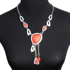 New Fashion Red Turquoise Pendant Jewelry Charm Tassel Chain Chandelier Necklace