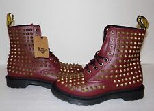 New DR MARTENS Spike Women's Studded Cherry Red Smooth Leather Boots US 8/UK 6