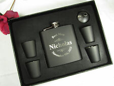 6 Personalized Flask Gift Sets Groomsman Best Man Engraved Wedding Engraved